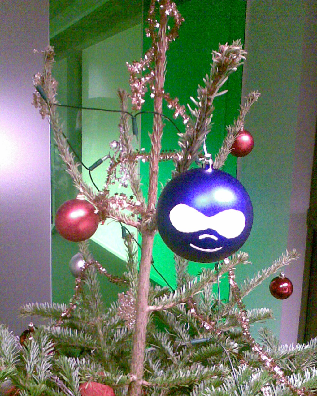A close-up of a drupal chritmas ball in the christmas tree